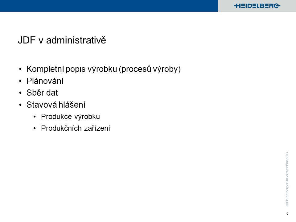 © Heidelberger Druckmaschinen AG JDF v administrativě Kompletní popis výrobku (procesů výroby) Plánování Sběr dat Stavová hlášení Produkce výrobku Produkčních zařízení 5