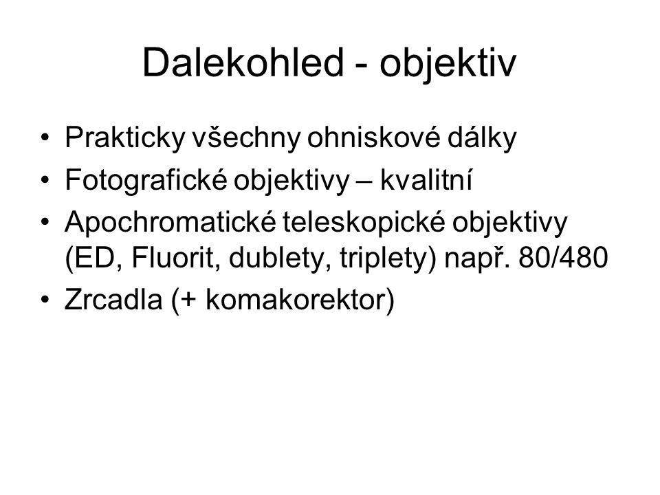 Dalekohled - objektiv Prakticky všechny ohniskové dálky Fotografické objektivy – kvalitní Apochromatické teleskopické objektivy (ED, Fluorit, dublety,