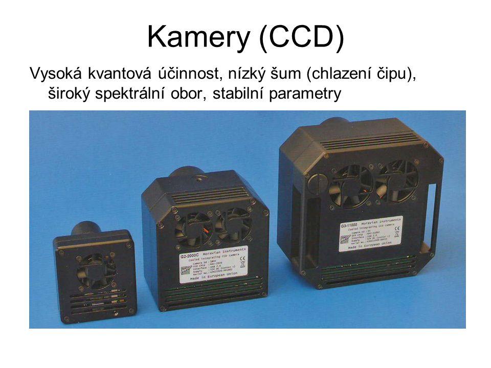 Kamery (CCD) Vysoká kvantová účinnost, nízký šum (chlazení čipu), široký spektrální obor, stabilní parametry