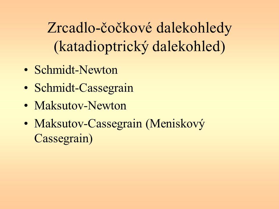 Zrcadlo-čočkové dalekohledy (katadioptrický dalekohled) Schmidt-Newton Schmidt-Cassegrain Maksutov-Newton Maksutov-Cassegrain (Meniskový Cassegrain)