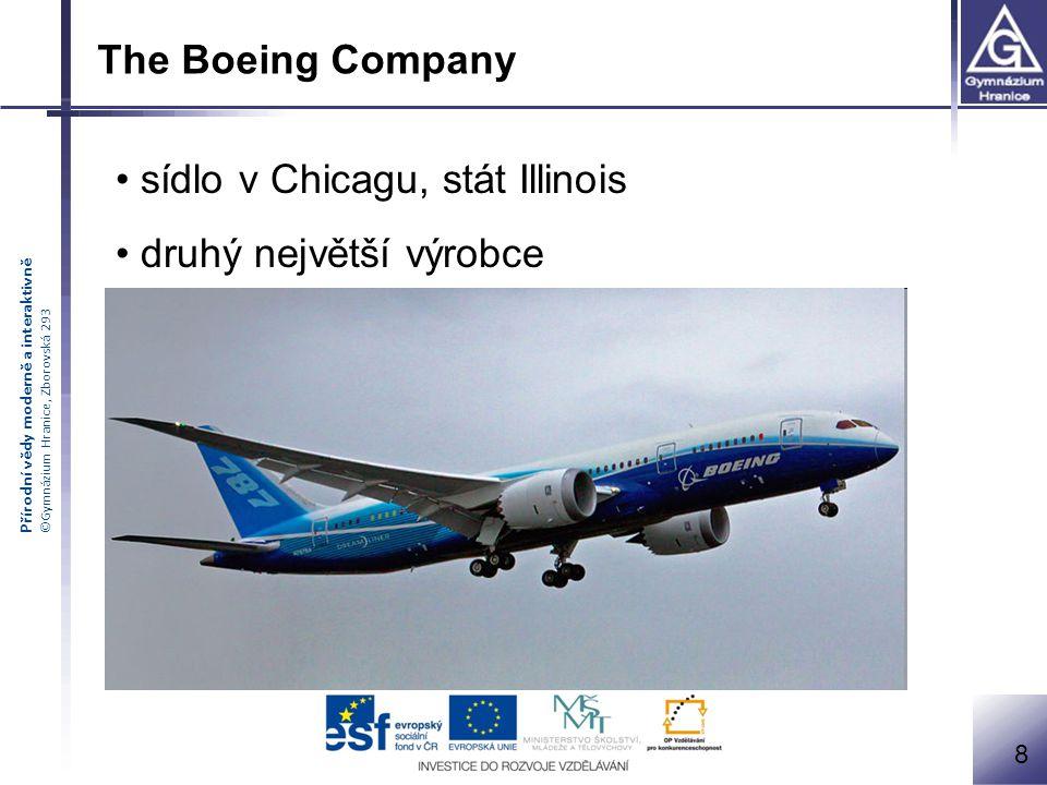 Přírodní vědy moderně a interaktivně ©Gymnázium Hranice, Zborovská 293 The Boeing Company sídlo v Chicagu, stát Illinois druhý největší výrobce 8