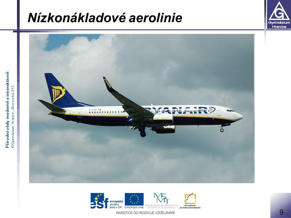 Přírodní vědy moderně a interaktivně ©Gymnázium Hranice, Zborovská 293 Nízkonákladové aerolinie = revoluce v letecké dopravě 9