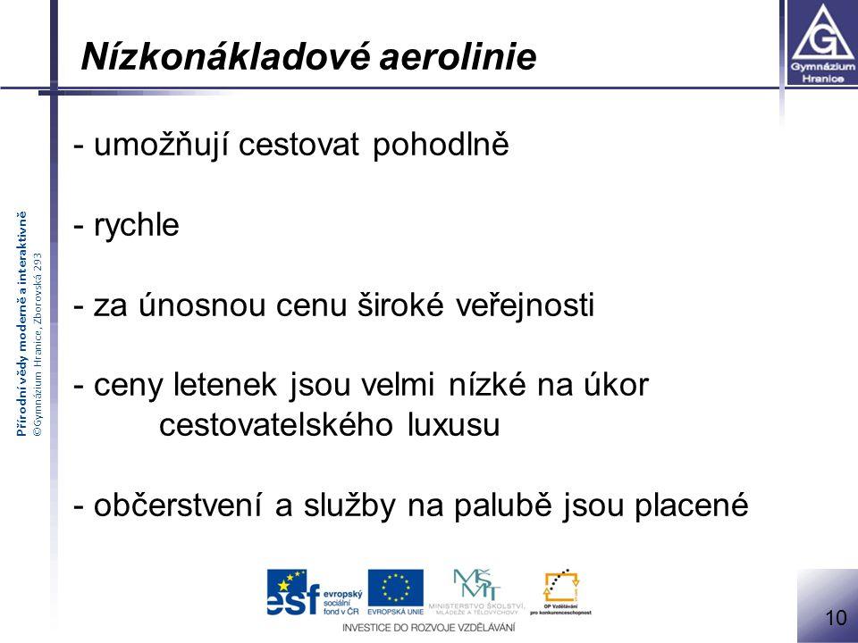 Přírodní vědy moderně a interaktivně ©Gymnázium Hranice, Zborovská 293 11 Letecké aliance