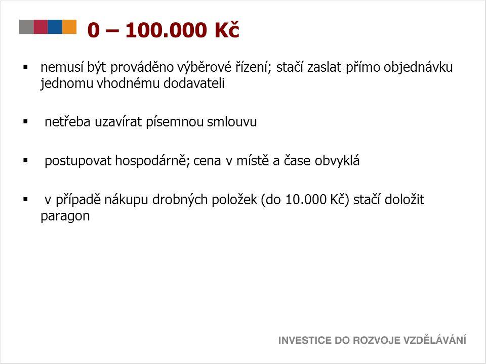 0 – 100.000 Kč  nemusí být prováděno výběrové řízení; stačí zaslat přímo objednávku jednomu vhodnému dodavateli  netřeba uzavírat písemnou smlouvu 