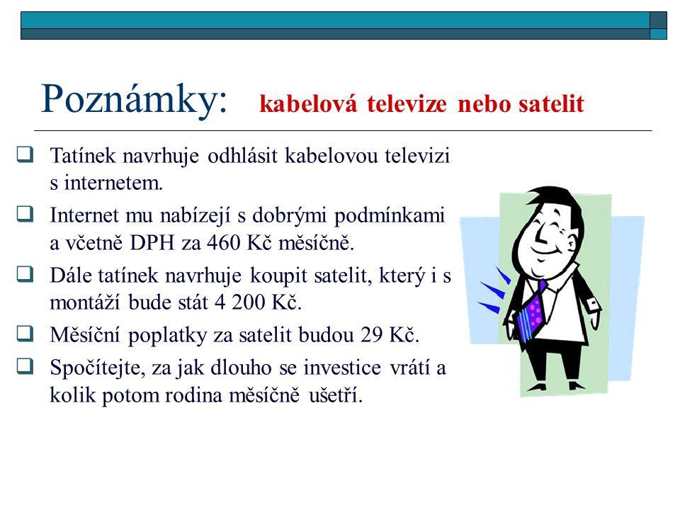 Poznámky: kabelová televize nebo satelit  Tatínek navrhuje odhlásit kabelovou televizi s internetem.