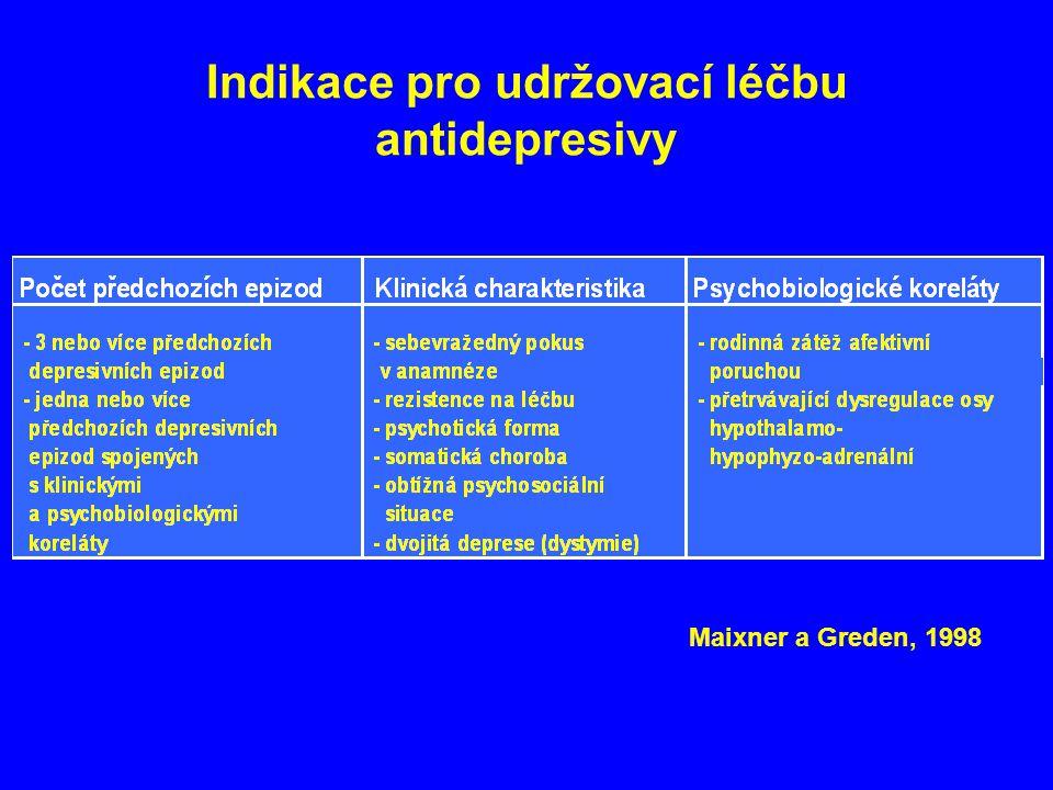 Indikace pro udržovací léčbu antidepresivy Maixner a Greden, 1998
