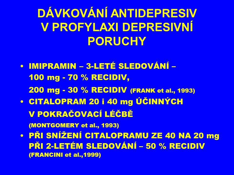 DÁVKOVÁNÍ ANTIDEPRESIV V PROFYLAXI DEPRESIVNÍ PORUCHY IMIPRAMIN – 3-LETÉ SLEDOVÁNÍ – 100 mg - 70 % RECIDIV, 200 mg - 30 % RECIDIV (FRANK et al., 1993)