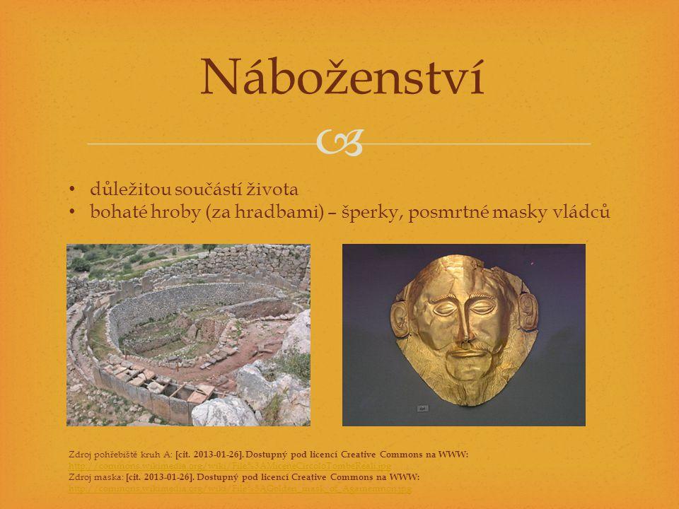  Náboženství důležitou součástí života bohaté hroby (za hradbami) – šperky, posmrtné masky vládců Zdroj pohřebiště kruh A: [cit.