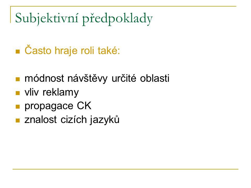 Subjektivní předpoklady Často hraje roli také: módnost návštěvy určité oblasti vliv reklamy propagace CK znalost cizích jazyků