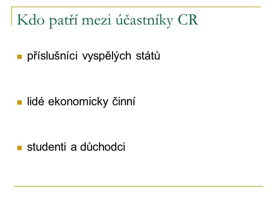 Kdo patří mezi účastníky CR příslušníci vyspělých států lidé ekonomicky činní studenti a důchodci