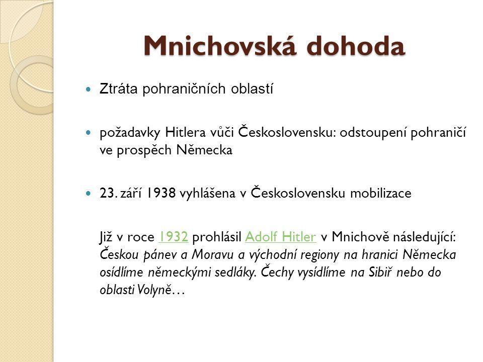 Mnichovská dohoda Ztráta pohraničních oblastí požadavky Hitlera vůči Československu: odstoupení pohraničí ve prospěch Německa 23.