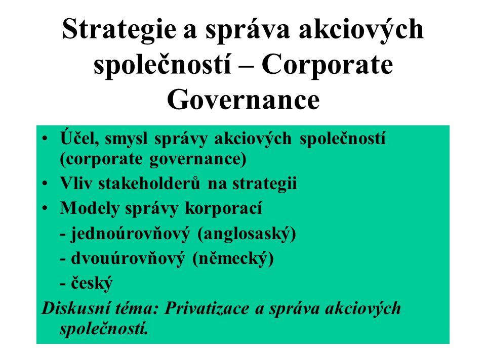 Strategie a správa akciových společností – Corporate Governance Účel, smysl správy akciových společností (corporate governance) Vliv stakeholderů na s