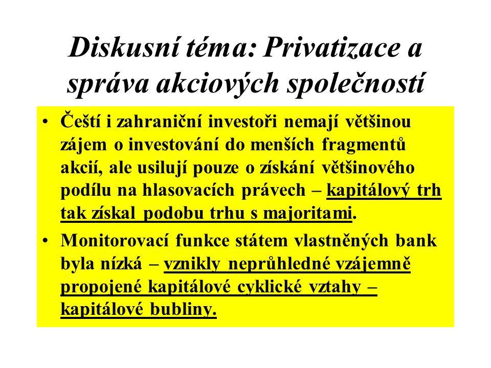 Diskusní téma: Privatizace a správa akciových společností Čeští i zahraniční investoři nemají většinou zájem o investování do menších fragmentů akcií,