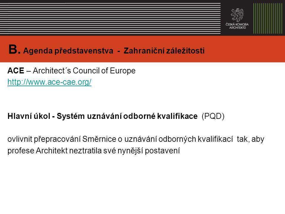 ACE – Architect´s Council of Europe http://www.ace-cae.org/ Hlavní úkol - Systém uznávání odborné kvalifikace (PQD) ovlivnit přepracování Směrnice o uznávání odborných kvalifikací tak, aby profese Architekt neztratila své nynější postavení B.
