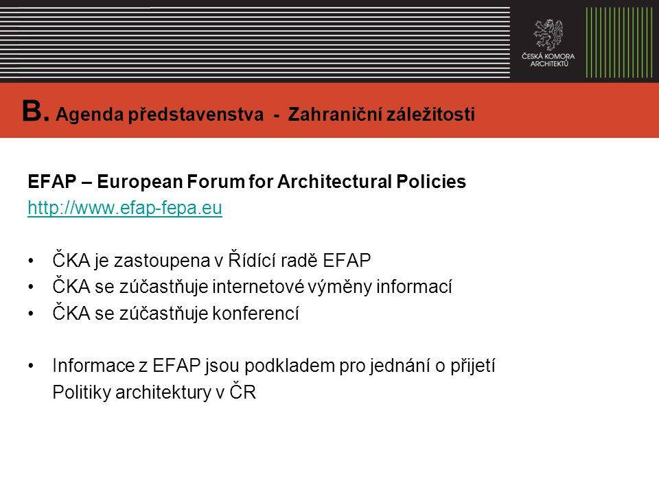 EFAP – European Forum for Architectural Policies http://www.efap-fepa.eu ČKA je zastoupena v Řídící radě EFAP ČKA se zúčastňuje internetové výměny informací ČKA se zúčastňuje konferencí Informace z EFAP jsou podkladem pro jednání o přijetí Politiky architektury v ČR B.