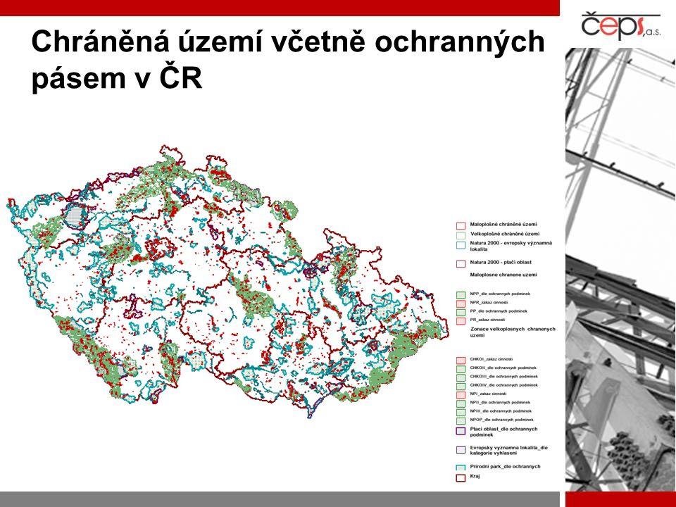 Chráněná území včetně ochranných pásem v ČR