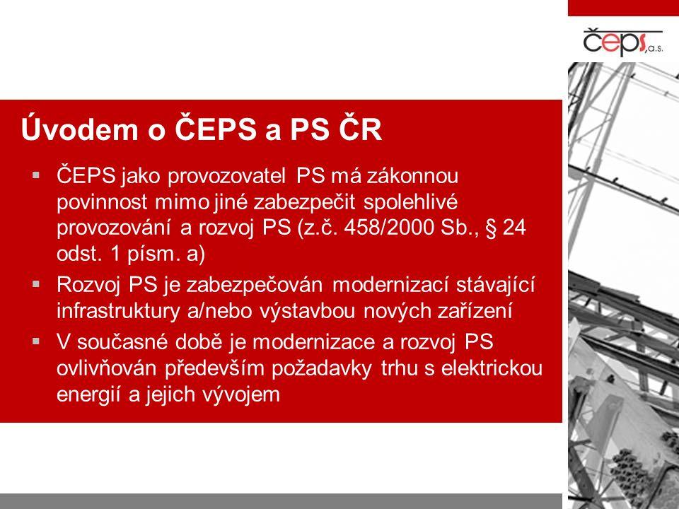 Úvodem o ČEPS a PS ČR  ČEPS jako provozovatel PS má zákonnou povinnost mimo jiné zabezpečit spolehlivé provozování a rozvoj PS (z.č. 458/2000 Sb., §