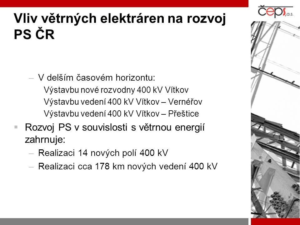 Vliv větrných elektráren na rozvoj PS ČR –V delším časovém horizontu: Výstavbu nové rozvodny 400 kV Vítkov Výstavbu vedení 400 kV Vítkov – Vernéřov Vý