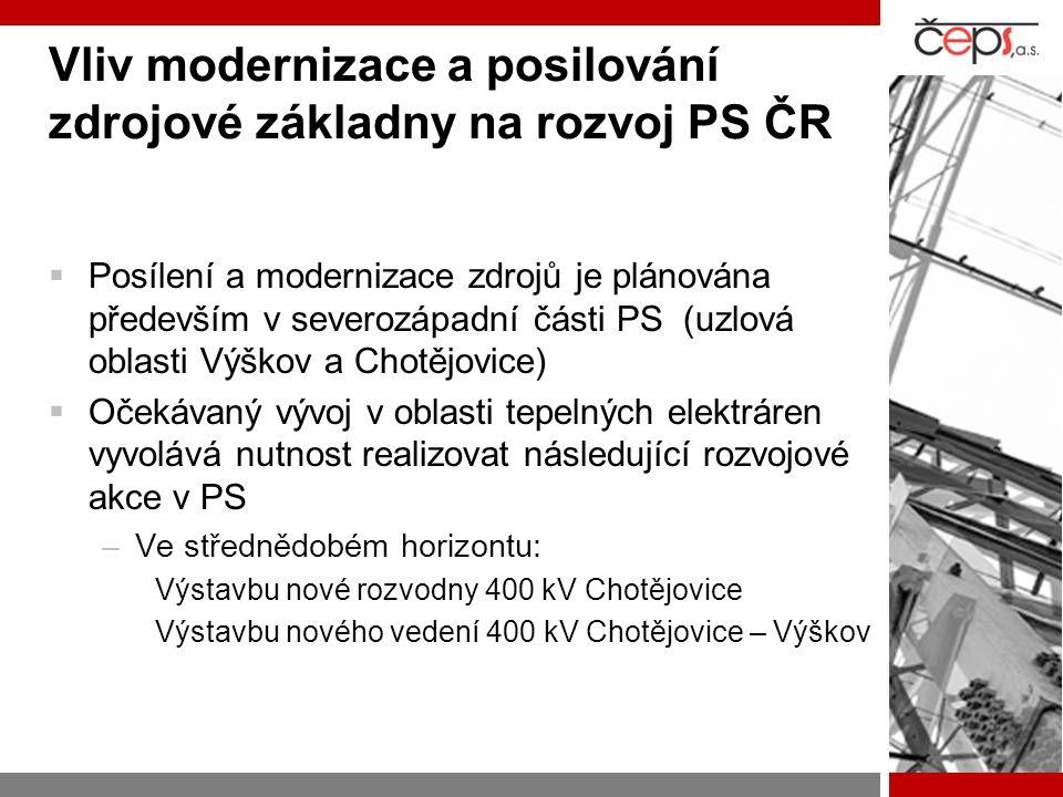 Vliv modernizace a posilování zdrojové základny na rozvoj PS ČR  Posílení a modernizace zdrojů je plánována především v severozápadní části PS (uzlov