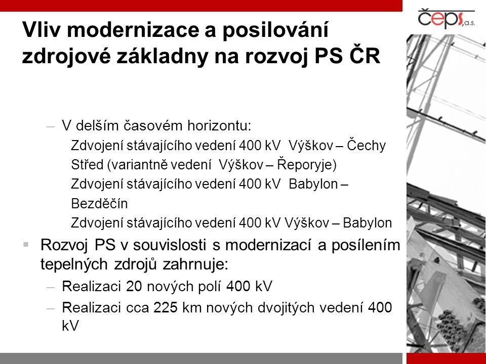 Vliv modernizace a posilování zdrojové základny na rozvoj PS ČR –V delším časovém horizontu: Zdvojení stávajícího vedení 400 kV Výškov – Čechy Střed (