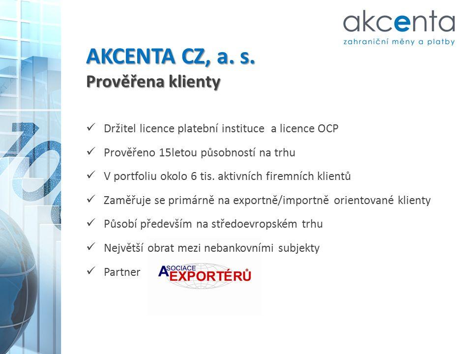 AKCENTA CZ, a. s. Prověřena klienty Držitel licence platební instituce a licence OCP Prověřeno 15letou působností na trhu V portfoliu okolo 6 tis. akt