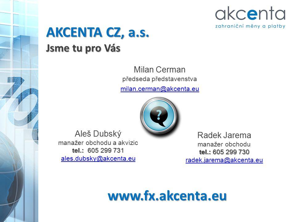 www.fx.akcenta.eu Milan Cerman předseda představenstva milan.cerman@akcenta.eu Aleš Dubský manažer obchodu a akvizic tel.: 605 299 731 ales.dubsky@akc