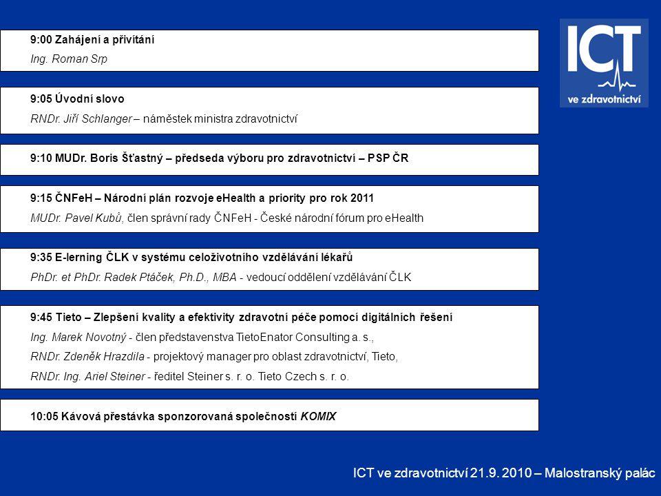ICT ve zdravotnictví 21.9. 2010 – Malostranský palác 9:00 Zahájení a přivítání Ing. Roman Srp 9:05 Úvodní slovo RNDr. Jiří Schlanger – náměstek minist