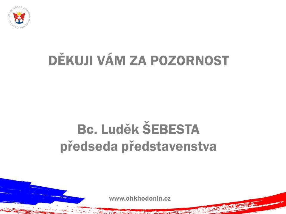 www.ohkhodonin.cz DĚKUJI VÁM ZA POZORNOST Bc. Luděk ŠEBESTA předseda představenstva
