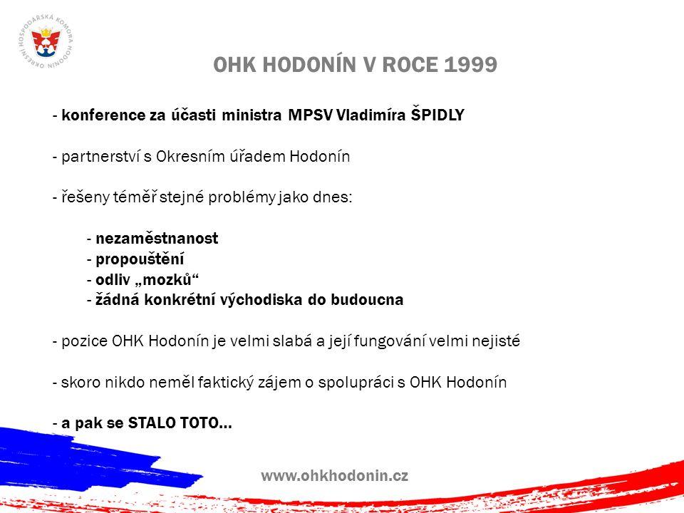 """OHK HODONÍN V ROCE 1999 - konference za účasti ministra MPSV Vladimíra ŠPIDLY - partnerství s Okresním úřadem Hodonín - řešeny téměř stejné problémy jako dnes: - nezaměstnanost - propouštění - odliv """"mozků - žádná konkrétní východiska do budoucna - pozice OHK Hodonín je velmi slabá a její fungování velmi nejisté - skoro nikdo neměl faktický zájem o spolupráci s OHK Hodonín - a pak se STALO TOTO…"""