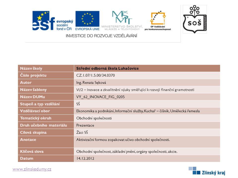 www.zlinskedumy.cz Název školyStřední odborná škola Luhačovice Číslo projektuCZ.1.07/1.5.00/34.0370 AutorIng.