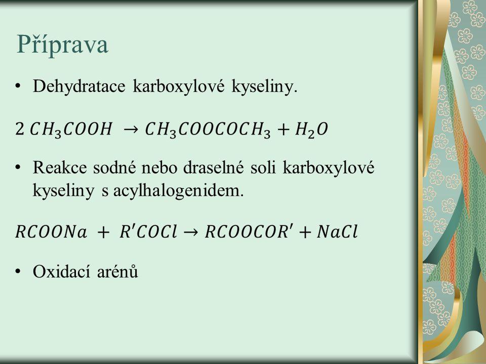 Příprava Dehydratace karboxylové kyseliny.