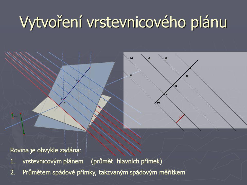 Vytvoření vrstevnicového plánu Rovina je obvykle zadána: 1.vrstevnicovým plánem (průmět hlavních přímek) 2.Průmětem spádové přímky, takzvaným spádovým