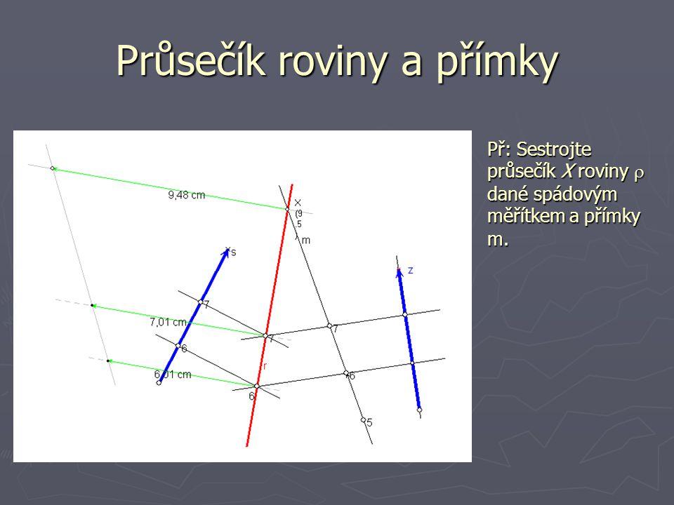 Průsečík roviny a přímky Př: Sestrojte průsečík X roviny  dané spádovým měřítkem  a  přímky m.
