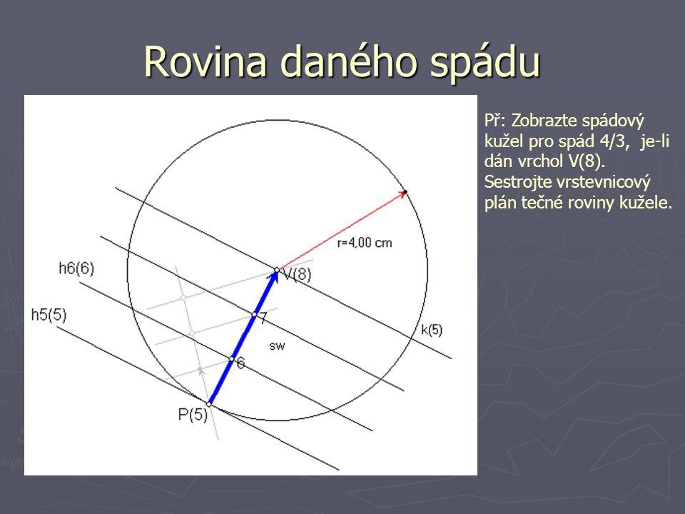 Rovina daného spádu Př: Zobrazte spádový kužel pro spád 4/3, je-li dán vrchol V(8). Sestrojte vrstevnicový plán tečné roviny kužele.