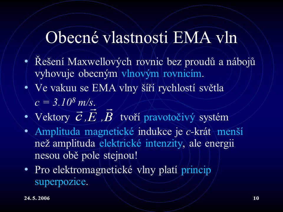 24. 5. 200610 Obecné vlastnosti EMA vln Řešení Maxwellových rovnic bez proudů a nábojů vyhovuje obecným vlnovým rovnicím. Ve vakuu se EMA vlny šíří ry