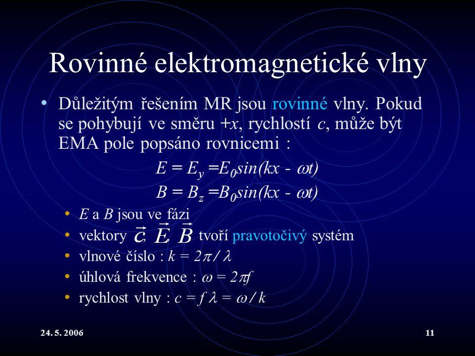 24. 5. 200611 Rovinné elektromagnetické vlny Důležitým řešením MR jsou rovinné vlny. Pokud se pohybují ve směru +x, rychlostí c, může být EMA pole pop