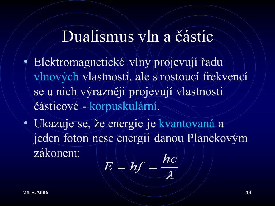 24. 5. 200614 Dualismus vln a částic Elektromagnetické vlny projevují řadu vlnových vlastností, ale s rostoucí frekvencí se u nich výrazněji projevují