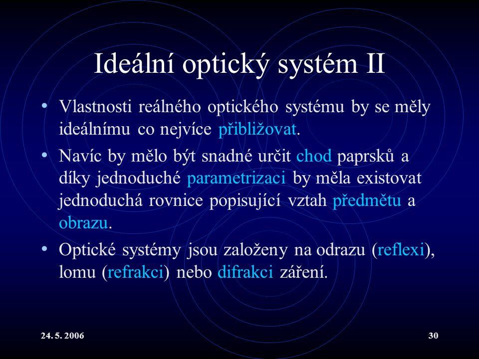 24. 5. 200630 Ideální optický systém II Vlastnosti reálného optického systému by se měly ideálnímu co nejvíce přibližovat. Navíc by mělo být snadné ur