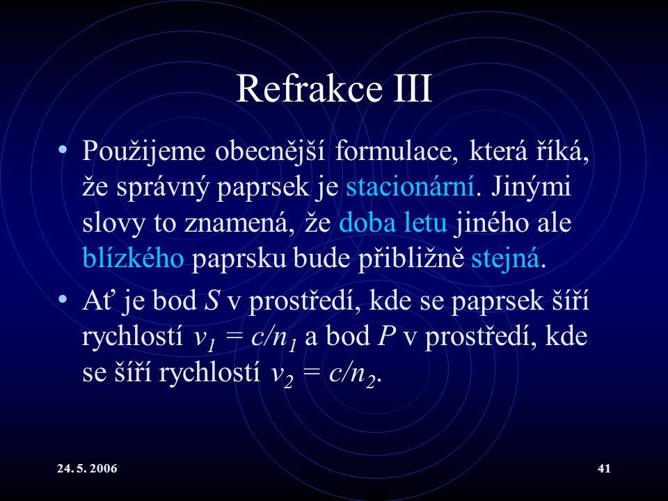 24. 5. 200641 Refrakce III Použijeme obecnější formulace, která říká, že správný paprsek je stacionární. Jinými slovy to znamená, že doba letu jiného