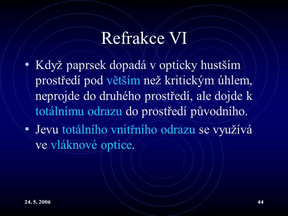 24. 5. 200644 Refrakce VI Když paprsek dopadá v opticky hustším prostředí pod větším než kritickým úhlem, neprojde do druhého prostředí, ale dojde k t