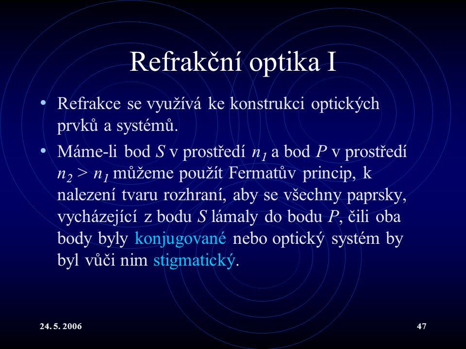 24. 5. 200647 Refrakční optika I Refrakce se využívá ke konstrukci optických prvků a systémů. Máme-li bod S v prostředí n 1 a bod P v prostředí n 2 >