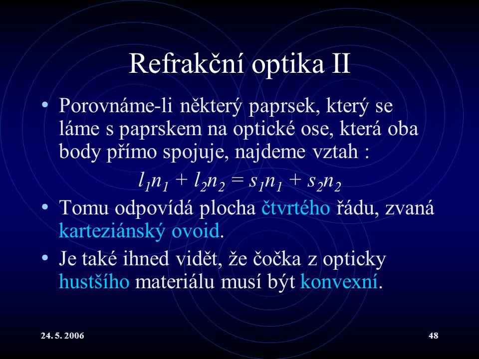 24. 5. 200648 Refrakční optika II Porovnáme-li některý paprsek, který se láme s paprskem na optické ose, která oba body přímo spojuje, najdeme vztah :