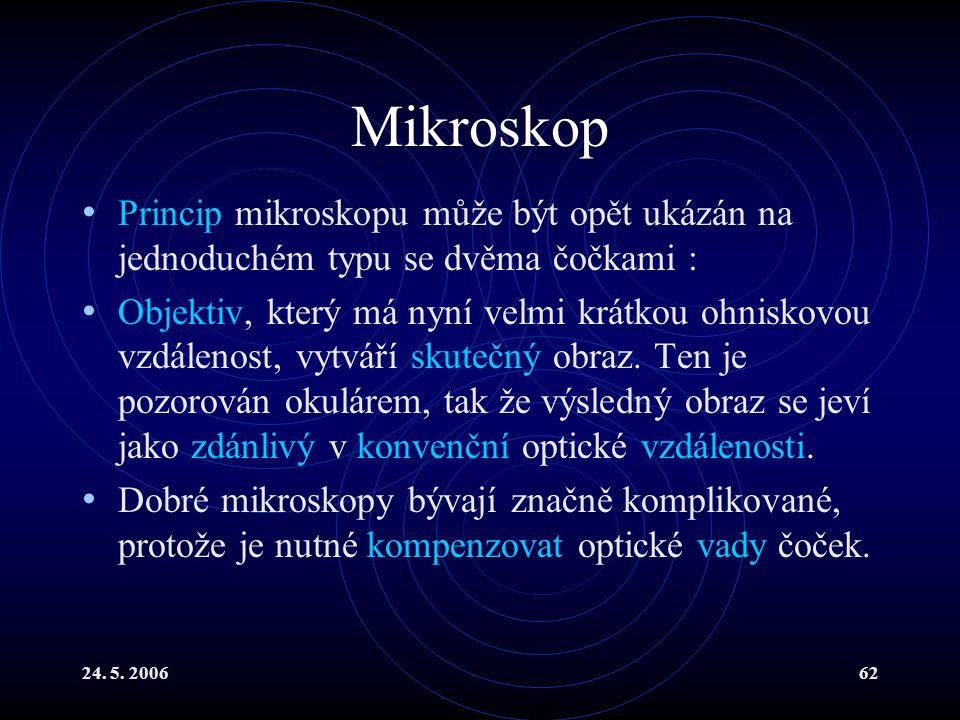 24. 5. 200662 Mikroskop Princip mikroskopu může být opět ukázán na jednoduchém typu se dvěma čočkami : Objektiv, který má nyní velmi krátkou ohniskovo