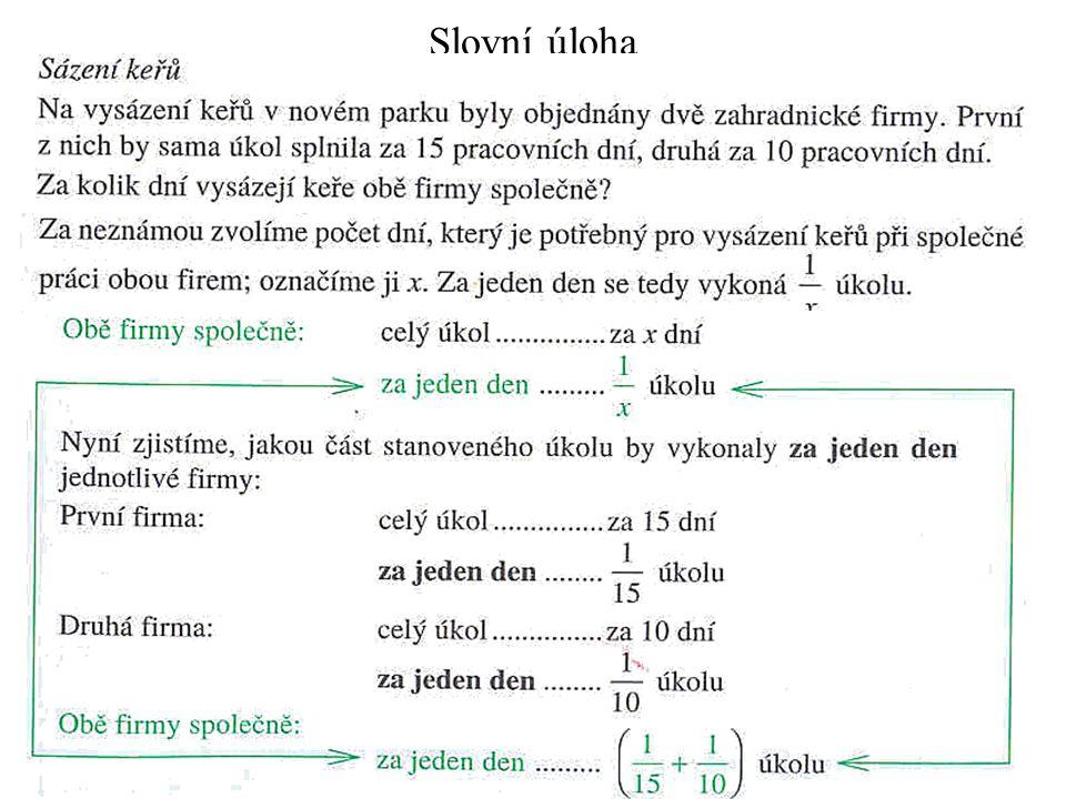 Slovní úloha - dořešení