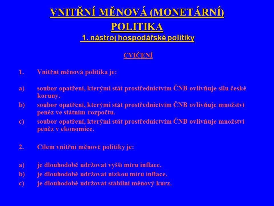 VNITŘNÍ MĚNOVÁ (MONETÁRNÍ) POLITIKA 1.