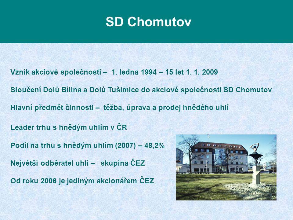 Vznik akciové společnosti – 1. ledna 1994 – 15 let 1. 1. 2009 Sloučení Dolů Bílina a Dolů Tušimice do akciové společnosti SD Chomutov Hlavní předmět č