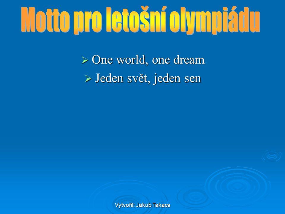 """Vytvořil: Jakub Takacs Maskoti Pekingské olympijské hry mají rekordní počet maskotů, pět postav nesoucích bohatou symboliku, jmenují se """"Šťastné děti ( 福娃 ; Fúwá): Pekingské olympijské hry mají rekordní počet maskotů, pět postav nesoucích bohatou symboliku, jmenují se """"Šťastné děti ( 福娃 ; Fúwá): kapr Pej-pej ( 贝贝 Bèibèi) – modrá, prosperita, vznešenost a čistota, vodní sporty kapr Pej-pej ( 贝贝 Bèibèi) – modrá, prosperita, vznešenost a čistota, vodní sporty kapr panda velká Ťing-Ťing ( 晶晶 Jīngjīng) – černá, radost, čest a naděje, silové a úpolové sporty panda velká Ťing-Ťing ( 晶晶 Jīngjīng) – černá, radost, čest a naděje, silové a úpolové sporty panda velká panda velká olympijský oheň Chuan-chuan ( 欢欢 Huānhuān) – červená, vášeň, nespoutanost, míčové sporty olympijský oheň Chuan-chuan ( 欢欢 Huānhuān) – červená, vášeň, nespoutanost, míčové sporty olympijský oheň olympijský oheň tibetská antilopa Jing-jing ( 迎迎 Yíngyíng) – žlutá, zdraví, pohotovost a ohebnost, atletika tibetská antilopa Jing-jing ( 迎迎 Yíngyíng) – žlutá, zdraví, pohotovost a ohebnost, atletika tibetská antilopa tibetská antilopa vlaštovka Ni-ni ( 妮妮 Nīnī) – zelená, štěstí, nevinnost a živost, gymnastika vlaštovka Ni-ni ( 妮妮 Nīnī) – zelená, štěstí, nevinnost a živost, gymnastika vlaštovka Tyto figurky jsou implikovány stykem s mořem, lesem, ohněm, zemí a oblohou, což naráží na harmonii člověka s přírodou a odpovídá myšlence """"Zelené olympiády ."""