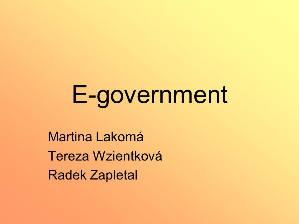 E-government Martina Lakomá Tereza Wzientková Radek Zapletal