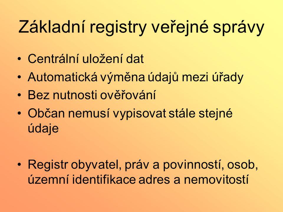 Základní registry veřejné správy Centrální uložení dat Automatická výměna údajů mezi úřady Bez nutnosti ověřování Občan nemusí vypisovat stále stejné