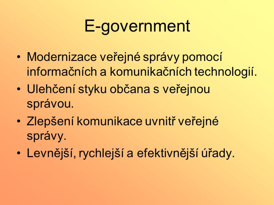 E-government Modernizace veřejné správy pomocí informačních a komunikačních technologií. Ulehčení styku občana s veřejnou správou. Zlepšení komunikace